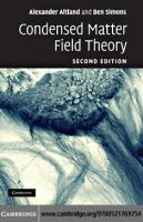Condensed Matter Field Theory
