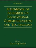 Handbook of Research on Educational Communications and Technology, 2nd Edition (Project of the Association for Educational Communications an)