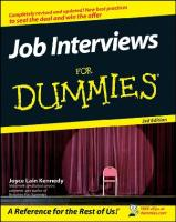 Job Interviews For Dummies, 3rd edition (For Dummies (Career Education))