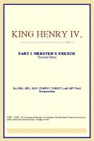 King Henry IV,Part I (Webster's French Thesaurus Edition)