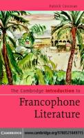 The Cambridge Introduction to Francophone Literature (Cambridge Introductions to Literature)