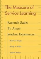 The Measure of Service Learning: Research Scales to Assess Student Experiences